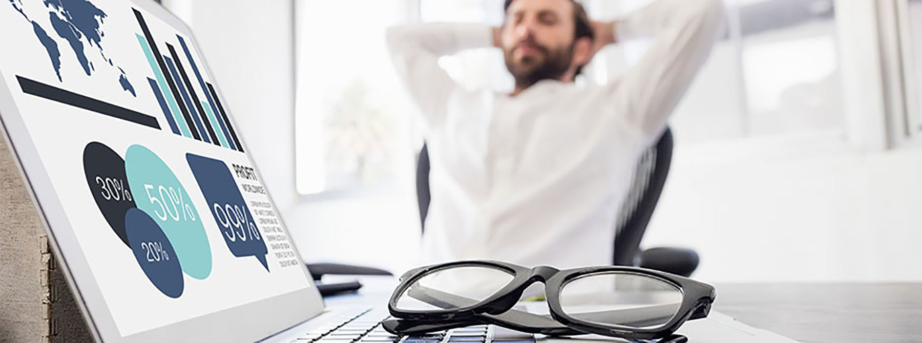 Man relaxing because efficiency of Print service